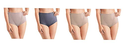 Maidenform Tummy Toning Shaping Briefs, All Over Smoothing, Comfort Leg Opening Perfect for Every Day 4 Pack (4 Pack- Taupe, Steel, Jet, Medium)