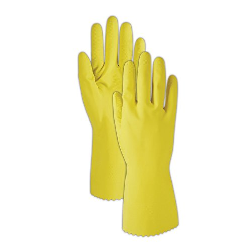 Yellow Flock Lined Gloves (Magid Glove & Safety 626L Magid Comfort Flex 626 15 Mil Flock-Lined Latex Gloves, 9, Natural Yellow, Large (Pack of 12))