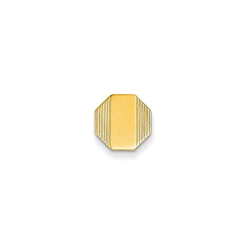 14k Yellow Gold Octaonal-Shaped Tie Tac with Detailed Edges by CoutureJewelers