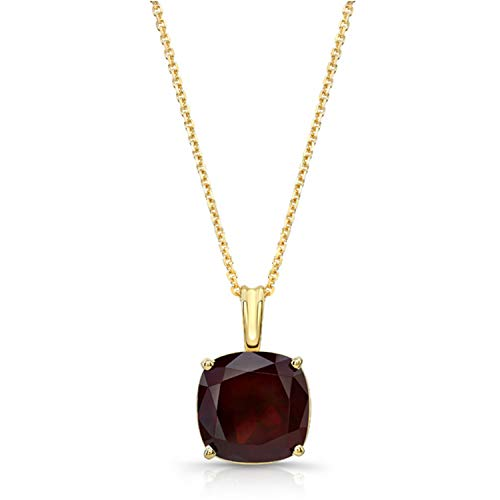 Olive & Hill Fine Jewelry 14K Yellow Gold Cushion Cut 10mm Garnet Pendant Necklace on 17