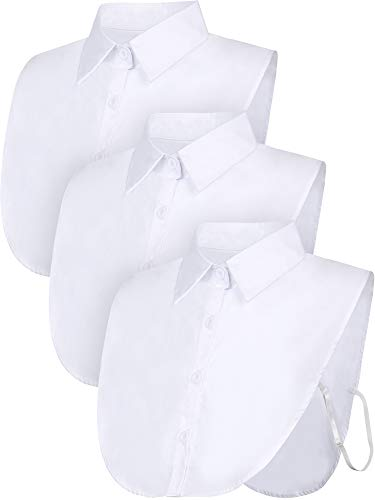 (Satinior 3 Pieces Fake Collar Detachable Dickey Collar Blouse Half Shirts Collar (White/Black/Blue) (M Size, White))