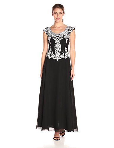 J Kara Women's Cap Sleeve Long Beaded Dress