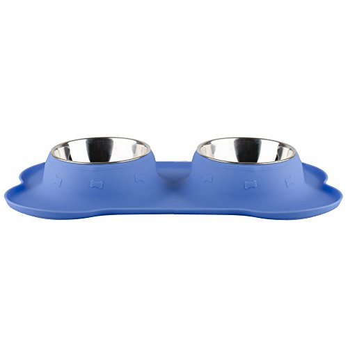 Fossa Double Dog Bowl Large Stainless Steel 2 X 24 oz Feeding Station for Medium to Large Dogs or Cats