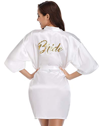 Vlazom Bridal Bridesmaid Robes Silk Bride Party Robes Dressing Gwon, Wedding Day Robes, Glitter Bridesmaid Kimono Bathrobe (White for Bride, X-Large)