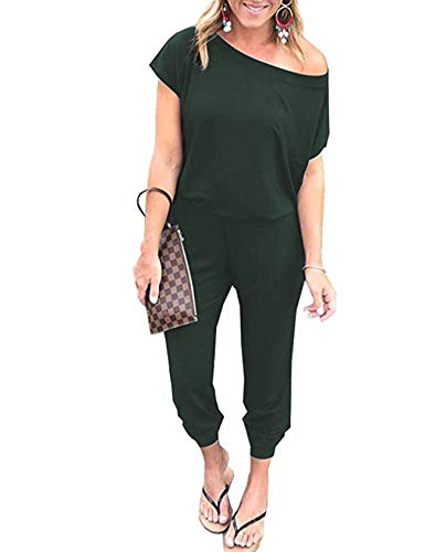 Hisweet Women's Summer Casual Jumpsuits Short Sleeve Loose Elastic Waist Playsuits with Pockets Green S