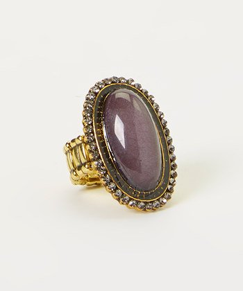 Lux Accessories Synthetic Gold Gray Gemstone Oval Stretch - Ring Gray Oval
