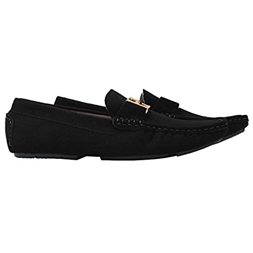 28370e4de55 high-quality Santimon Men s Casual Gold Buckle Leather Slip-on Loafer  Driving Car Shoes