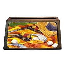 """Caroline's Treasures """"Golf Clubs Golfer"""" Decorative Desktop Wooden Business Card Holder, Large, Multicolor"""