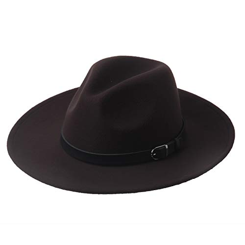 Dantiya Women's Wide Brim Wool Fedora Panama Hat with Belt (Coffee)