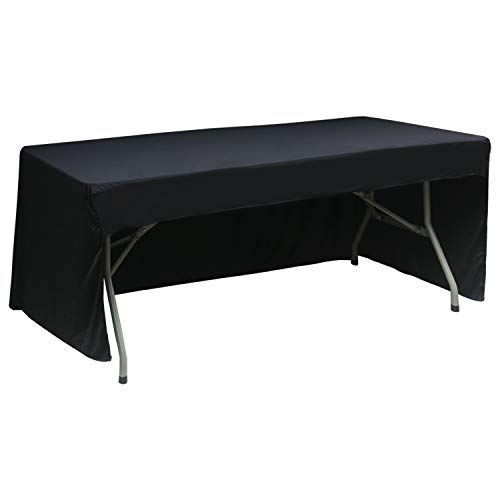 ABCCANOPY 6 FT Rectangle Table Cloth Table Cover for Rectangular Table in Washable Polyester-Great for Buffet Table, Parties, Holiday Dinner, Wedding & More (Black) ()