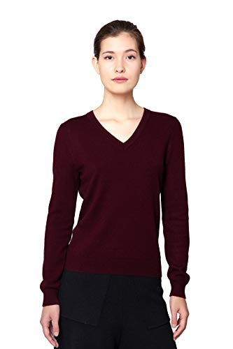 Goyo Cashmere Women's 100% Pure Cashmere Sweater – Long Sleeve V-Neck Pullover (Wine Red, XL)