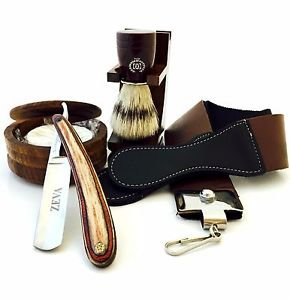 WOOD CUT THROAT 6 PC MEN'S STRAIGHT RAZOR SHAVING KIT LUXURY GIFT SET USA
