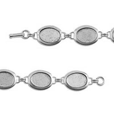 Nunn Design Antiqued Silver Plated Collage Bracelet 18mm Ovals by Nunn Design