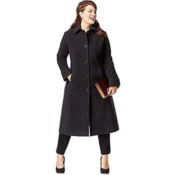 b9c909124ba Jones New York Women s Plus Size High Collared Maxi Length Wool Coat ...