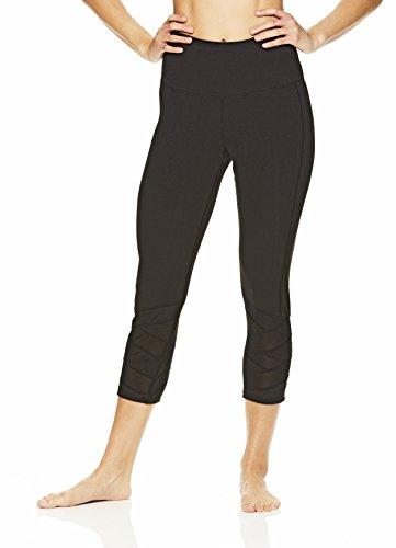 Gaiam Women's Capri Yoga Pants - Performance Spandex Compression Legging - Black (Tap Shoe), 2X