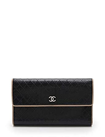 204d320ccc40 Amazon.co.jp: (シャネル) CHANEL ビコローレ 三つ折り長財布 レザー 黒 ベージュ 中古: 服&ファッション小物