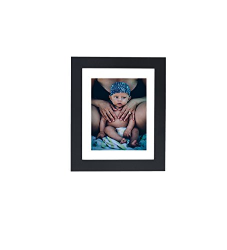 Black 8x10 MDF Moulding Picture Frame - Made to Display Photo 5x7 with Mat or 8x10 Without Mat | Photo Display with Glass Front, Easel Back, and 1.25
