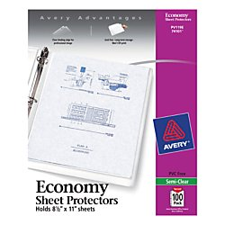 Avery Economy Semi-Clear Sheet Protectors,  Acid Free, Box of 100 (74101)