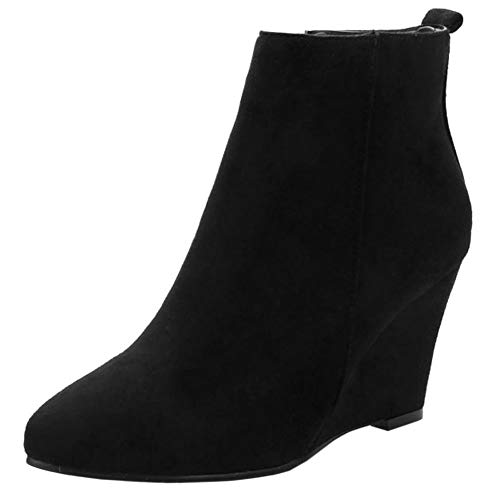 Melady Fashion Wedges Heels Bootie Zipper Black