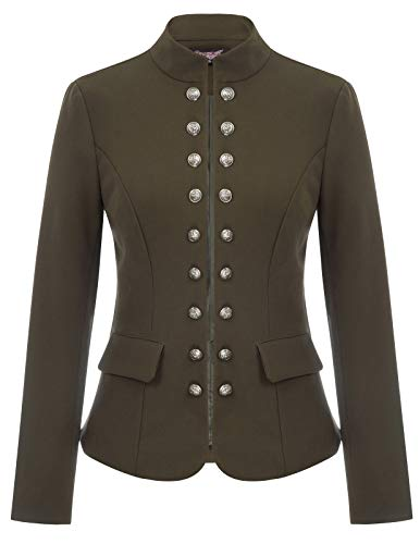 Women's Steampunk Open Front Military Jacket Blazers XL Army - Military Breasted Double Coat