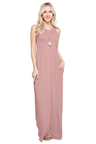 Sportoli Maxi Dresses for Women Solid Lightweight Long Racerback Sleeveless W/Pocket -Dusty Pink (X-Large)