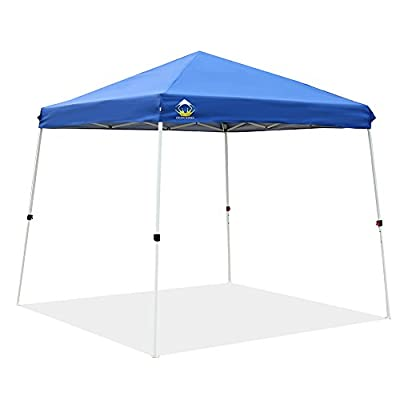 CROWN SHADES Patented 10ft x 10ft Base 8ft x 8ft Top Slant Leg Outdoor Pop up Portable Shade Instant Folding Canopy Carry Bag, Blue