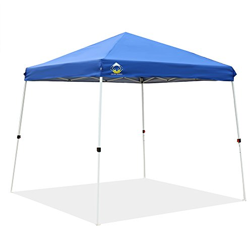 CROWN SHADES Patented 10ft x 10ft Base and 8ft x 8ft Top Slant Leg Outdoor Pop up Portable Shade Instant Folding Canopy with Carry Bag, Blue (Best Pop Up Shade)