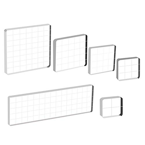 mp Blocks Acrylic Clear Stamping Blocks Tools with Grid Lines for Scrapbooking Crafts Making ()