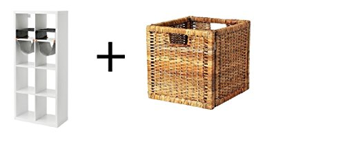 Ikea Shelf unit with 4 inserts, white,Basket, 2 packs rattan
