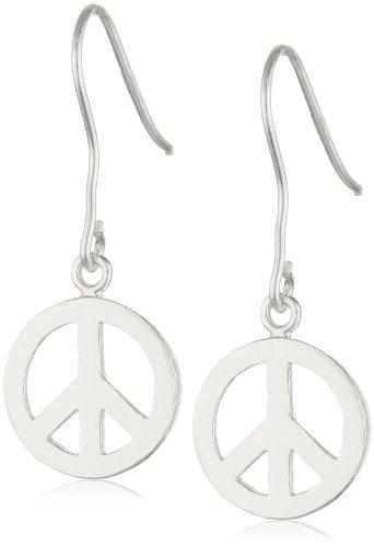 Sterling Silver Peace-Sign Earrings