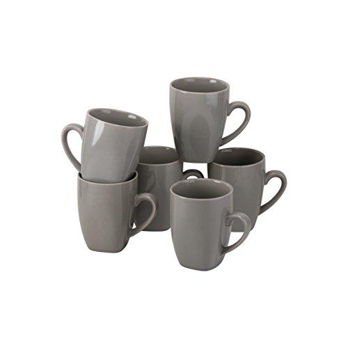 (10 Strawberry Street Wazee Square - 10 Oz Mug - Set of 6 - Gray)