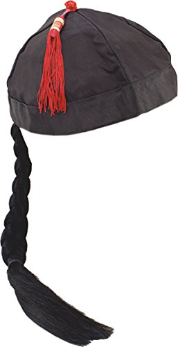 Unisex Adult Fancy Dress Party Accessory Chinese Mandarin Hat With Pigtail Black -
