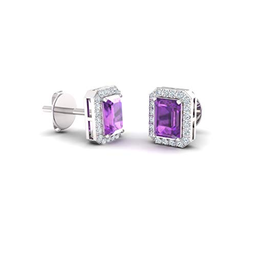 Diamondere Natural and Certified Amethyst and Diamond Petite Stud Earrings in 14K White Gold | 0.67 Carat Halo Earrings for Women