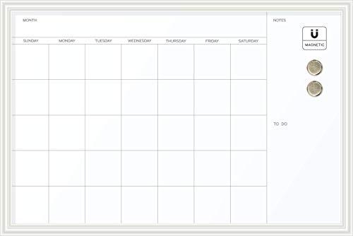 U Brands Magnetic Dry Erase Calendar Board, 20 x 30 Inches, White Wood Frame ()