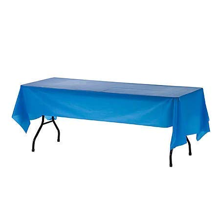 Mountclear 12-Pack Disposable Plastic Tablecloths - 54 x 108 Inch Size Table Cover (Blue)