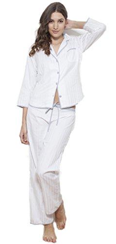 Cotton Real Damen Schlafanzug weiß weiß