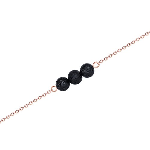 Lava Volcanic Stone Oil Necklace – Rose Gold 3 Minimalist Unique Tiny Pretty Simple Round Ball Therapy Aromatherapy Essential Oil Lava Stone Bead Diffuser Infused Necklace Stainless Steel Little (3 Stone Gold Necklace)