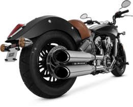 Vance & Hines 15-16 Indian Scout Twin Slash Rounds Slip-On Exhaust (Chrome / 4'') by Vance & Hines