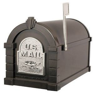 Gaines Deluxe Post - Keystone Deluxe Mailbox, Metallic Bronze w/Satin Nickel