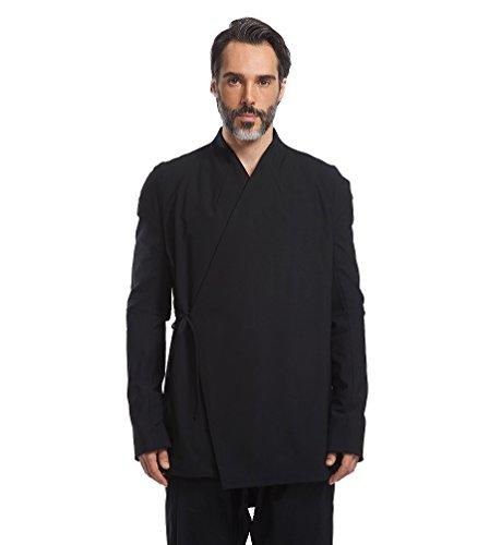 Husenji Men's Chinese jacket Traditional Han Costume Clothing Black kongfu hanfu tang suit 汉服 花笙记 China Black L (Han Chinese Clothing compare prices)