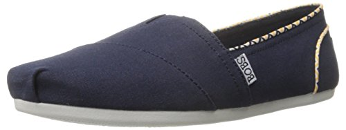 Skechers BOBS From Women's Plush Piping Flat, Navy/Yellow, 8 M US