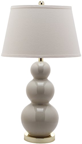 Safavieh Lighting Collection Pamela Light Grey Triple Gourd 28-inch Ceramic Lamp - Form Gourd Lamp
