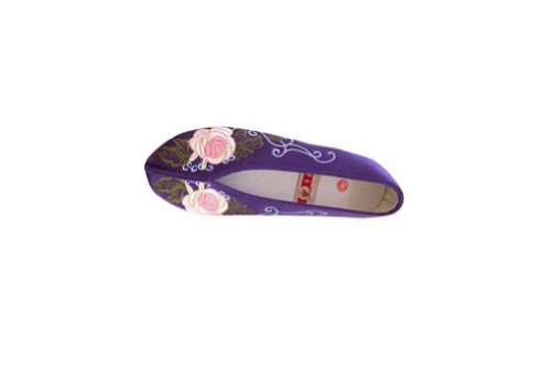 Women Slip On Casual Flat Espadrilles Shoes - Handmade Sole Comfy Silk Brocade #106 Purple xPORhLrPw