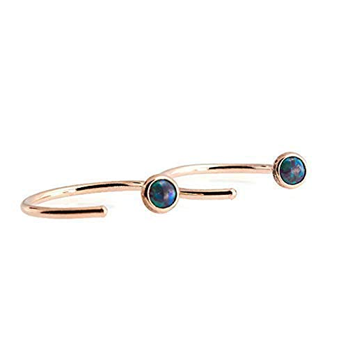 - 14K Rose Gold Filled with Dark Green Opal Hoop Hugger Earrings, RGF-R-D13-3MM-18GA-GR. Opal