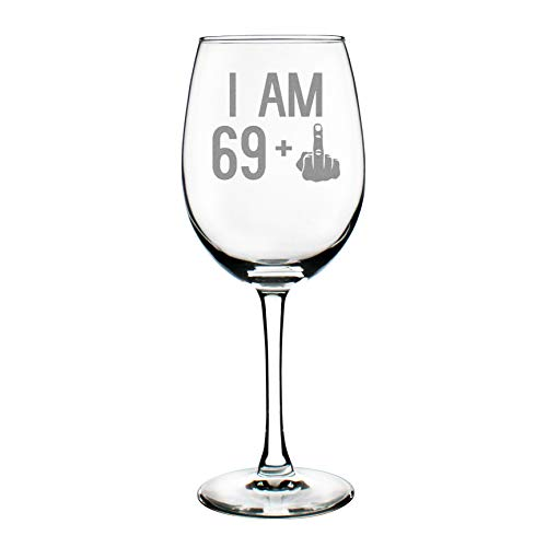 69 + One Middle Finger | 70th Birthday Wine Glass for Women & Men | Cute Funny Wine Gift Idea | Unique Personalized Bday Glasses for Mom, Dad, Friend Turning 70 | Drinking Party Decoration ()