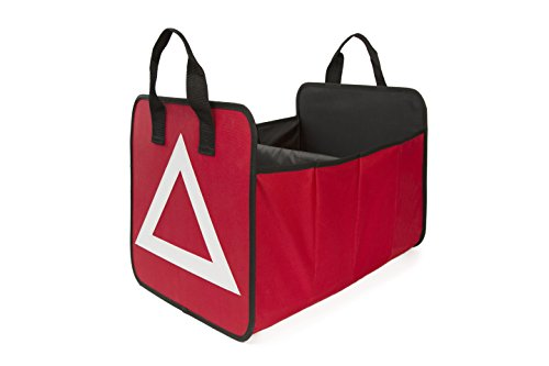 Car Trunk Storage Organizer Collapsible Cargo Bag Bin Container with Triangle Warning Great for Car SUV, Vehicle, Auto, Truck, Minivan (Red)
