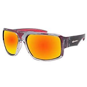 Bomber Sunglasses - Mega Bomb 2 Tn Crystal Smk Frm/Red Mirror Pc Safety Lens/Red Foam