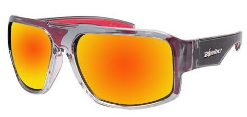 Bomber Sunglasses - Mega Bomb 2 Tn Crystal Smk Frm/Red Mirror Pc Safety Lens/Red Foam by Bomber