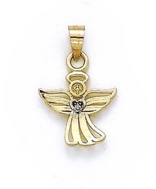 14k Yellow Gold Diamond Angel Pendant ()