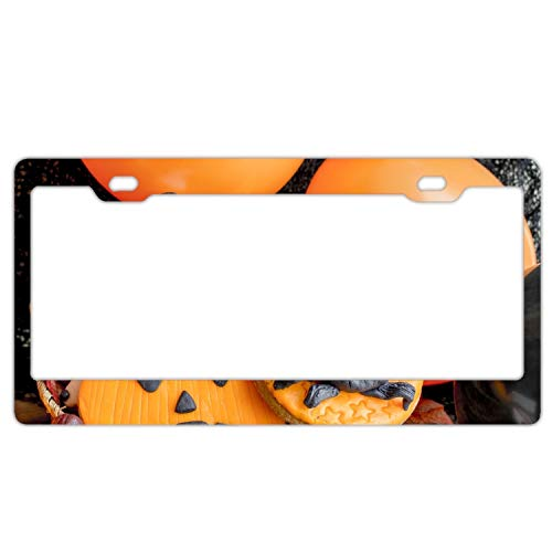 KSLIDS Car License Plate Frame,Holiday Halloween Biscuit Alumina License Plate Covers with Free Screws Fasteners + Screw Caps -